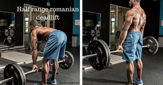 Half range romanian deadlift bài tập mông cho nam